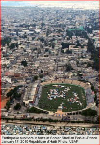 Haiti Soccer Field and Tents after Earthquake